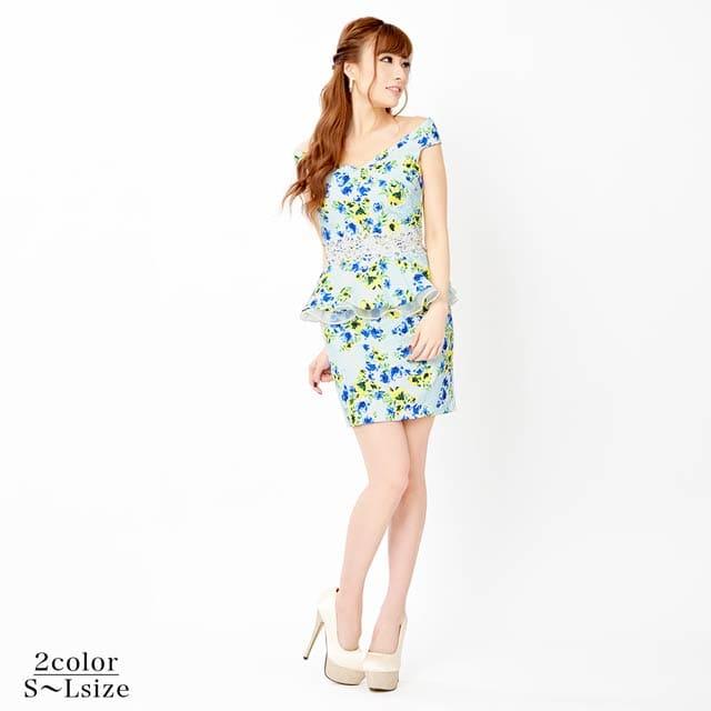 [SMLサイズ]レース切替花柄オフショルペプラムタイトミニドレス[3サイズ展開]