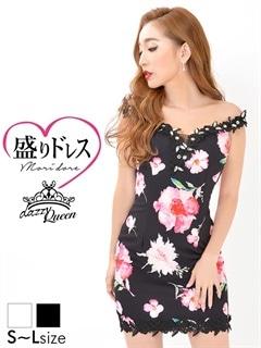 【盛りドレス】[SMLサイズ]谷間シースルー花柄オフショルタイトミニドレス[3サイズ展開]