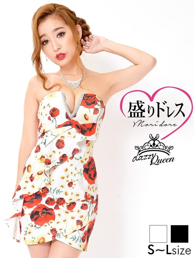 【盛りドレス】[SMLサイズ]花柄縦フリルチューリップカットタイトミニドレス[3サイズ展開][杉山佳那恵]