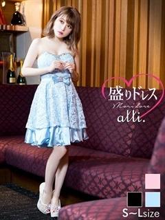 【盛りドレス】[SMLサイズ]背中あみあげサテンレースベアAラインミニドレス[3サイズ展開]