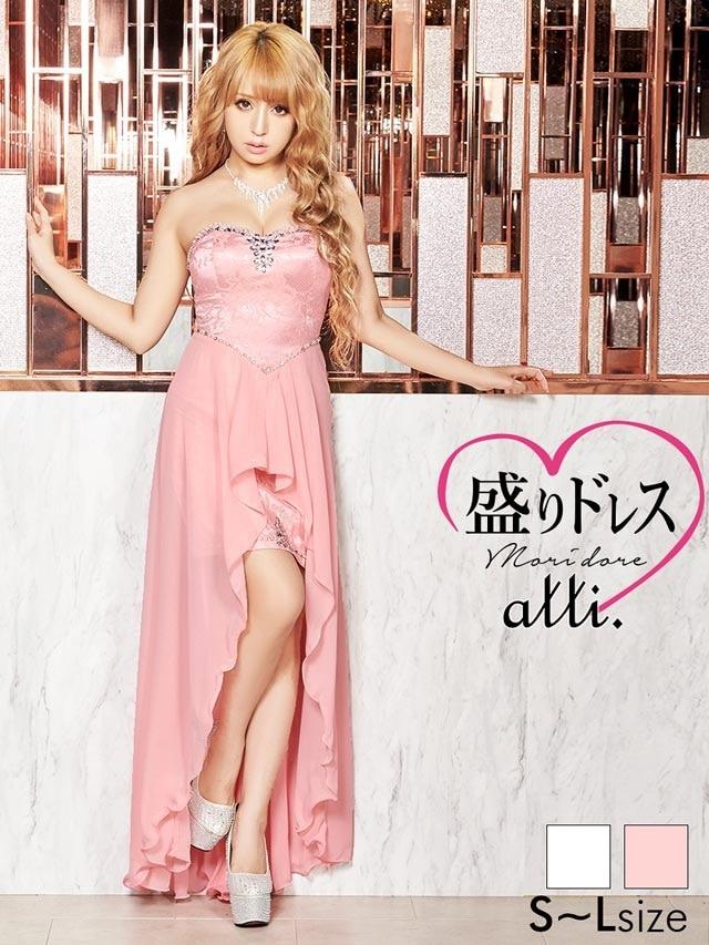 【盛りドレス】[SMLサイズ]ビジュー付きレースベアインナーミニロングドレス[3サイズ展開]