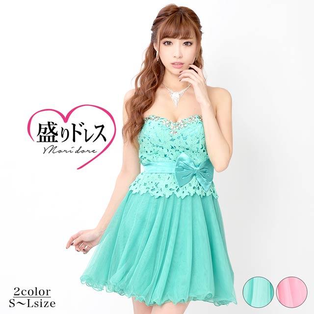 【盛りドレス】[SMLサイズ]ウエストリボン刺繍レースベアAラインミニドレス[3サイズ展開]