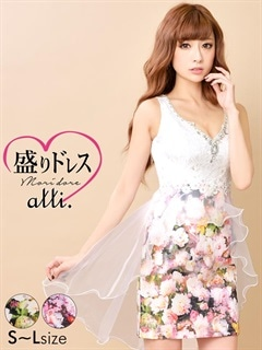 【盛りドレス】[SMLサイズ]オーガンジーテールカットペプラム花柄タイトミニドレス[3サイズ展開]