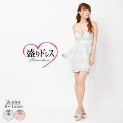 【盛りドレス】[SMLサイズ]総レースベアティアードテールカットタイトミニドレス[3サイズ展開]
