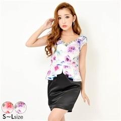 [SMLサイズ]肩リボン淡色大柄花柄ぺプラムタイトミニドレス[3サイズ展開]