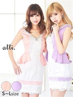 [SMLサイズ]レース花刺繍レイヤード風ペプラムタイトミニドレス[3サイズ展開]