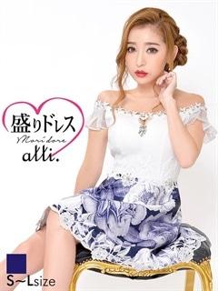 【盛りドレス】[SMLサイズ]花柄オフショルAラインフレアミニドレス[3サイズ展開][杉山佳那恵]