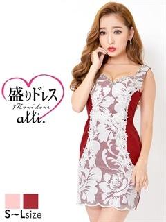 【盛りドレス】[SMLサイズ]フラワーレースノースリタイトミニドレス[3サイズ展開]