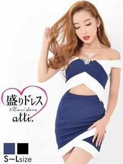 【盛りドレス】[SMLサイズ]ウエスト開きチューリップカットオフショルタイトミニドレス[3サイズ展開]