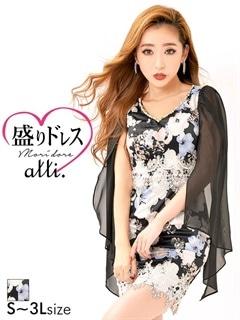 【盛りドレス】[S~3Lサイズ]シフォンケープ風花柄タイトミニドレス[5サイズ展開]