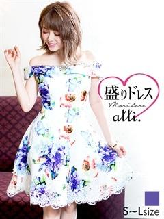【盛りドレス】[SMLサイズ]水彩花柄オフショルAラインミニドレス[3サイズ展開]