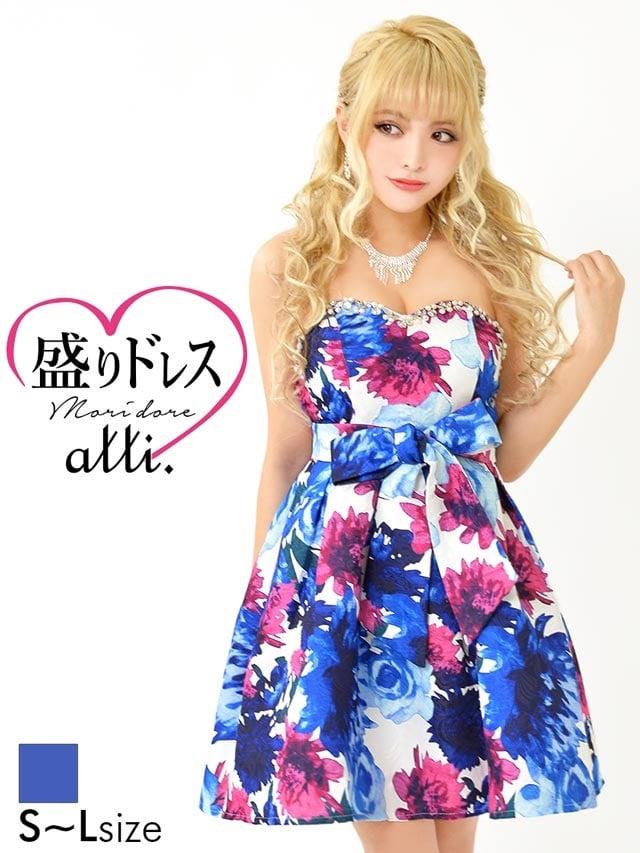 【盛りドレス】[SMLサイズ]水彩風花柄ベアAラインミニドレス[3サイズ展開]