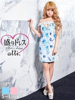 【盛りドレス】[SMLサイズ]谷間ホールスリット入り花柄オフショルタイトミニドレス[3サイズ展開]