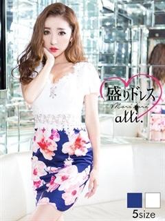 【盛りドレス】[S~3Lサイズ]花柄ウエストスリーブ透けスカラップタイトミニドレス[5サイズ展開]
