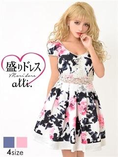 【盛りドレス】[S~LLサイズ]ウエストレース透け花柄Aラインミニドレス[4サイズ展開]