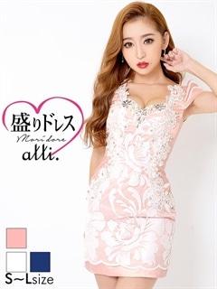 【盛りドレス】[SMLサイズ]サテンxセンターレース胸元背中見せタイトミニドレス[3サイズ展開]