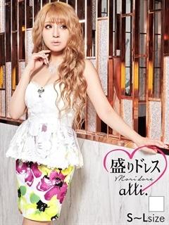 【盛りドレス】[SMLサイズ]花柄透けぺプラムタイトミニドレス[3サイズ展開]
