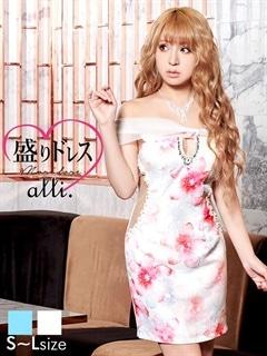 【盛りドレス】[SMLサイズ]サイドシアー谷間ホールカット花柄オフショルタイトミニドレス[3サイズ展開]