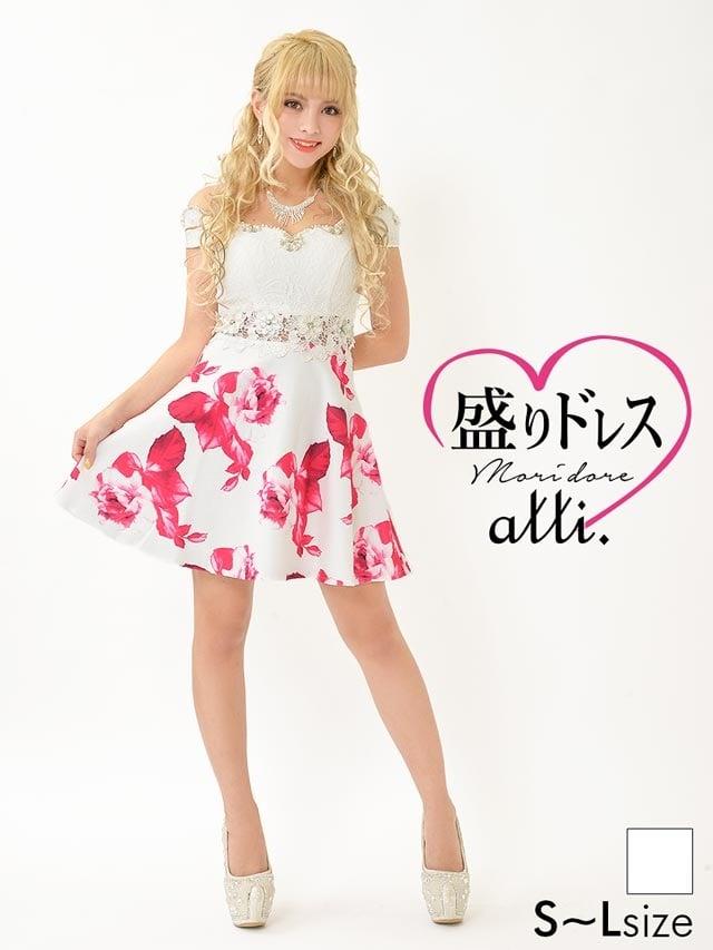 【盛りドレス】[SMLサイズ]ウエスト透け総レース花柄オフショルAラインミニドレス[3サイズ展開]