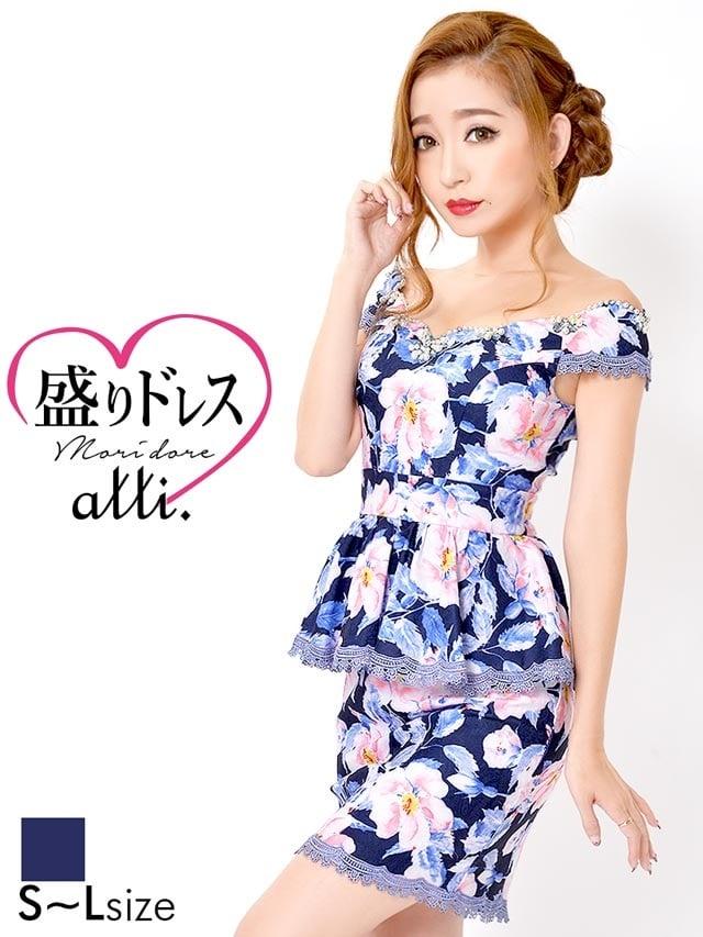 【盛りドレス】[SMLサイズ]大柄花柄オフショルペプラムタイトミニドレス[3サイズ展開][杉山佳那恵]