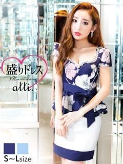 【盛りドレス】[SMLサイズ]ウエストリボン化花柄ぺプラムタイトミニドレス[3サイズ展開]