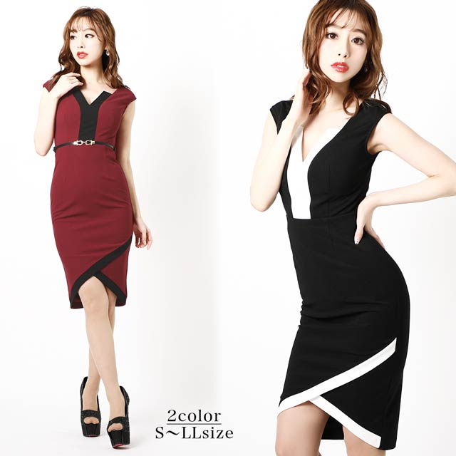 [S~LLサイズ]ラップ風バイカラータイトドレス[4サイズ展開]