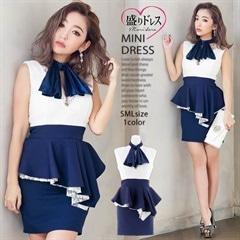 【盛りドレス】[SMLサイズ]チョーカー風スカーフ付きペプラムタイトミニドレス[3サイズ展開][6/18再入荷]