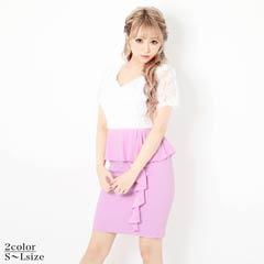 [SMLサイズ]薔薇レースバイカラーペプラムタイトミニドレス[3サイズ展開]