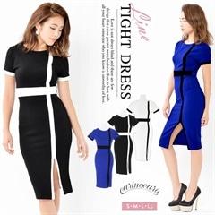 6/18UP[S~LLサイズ]スリット入りシンプルバイカラータイトドレス[4サイズ展開]