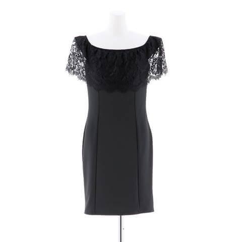 5/26再販![S~3Lサイズ]フリルワンカラータイト膝丈ドレス[5サイズ展開](ブラック-S)