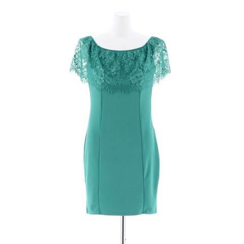 5/26再販![S~3Lサイズ]フリルワンカラータイト膝丈ドレス[5サイズ展開](グリーン-S)