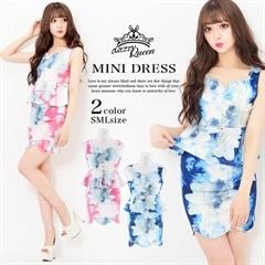 [2ピース][SMLサイズ]フロントファスナー水彩Flowerスカラップタイトミニドレス[3サイズ展開]