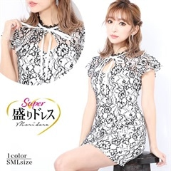 【盛りドレス】[SMLサイズ]チョーカー風フラワー刺繍タイトミニドレス[3サイズ展開][9/3再入荷]
