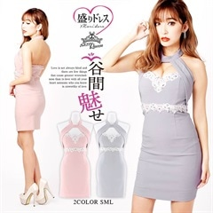 【盛りドレス】[SMLサイズ]豪華ビジュー×パール付きアメスリタイトミニドレス[3サイズ展開]