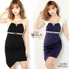 【盛りドレス】[SMLサイズ]レイヤード風アシメタイトミニドレス[3サイズ展開]