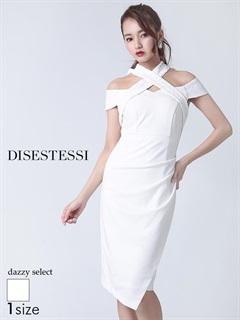 [DISESTESSI]ネックレースリボンオフショルタイトドレス[特別クーポンで半額]