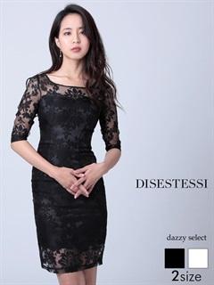 [DISESTESSI]デコルテシアーデザイン袖付きタイトミニドレス