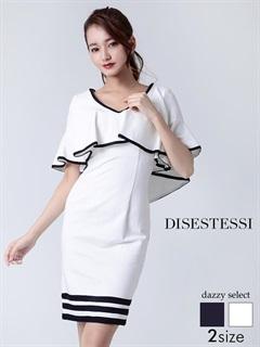 [DISESTESSI]バイカラーフレアスリーブボーダータイトドレス[特別クーポンで半額]
