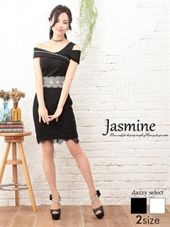 [jasmine]オフショル風ウエスト透け総レースタイトミニドレス