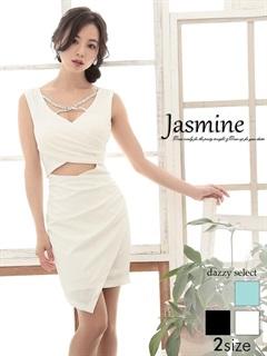 [jasmine]ウエストダイヤカット谷間魅せギャザータイトミニドレス[特別クーポンで半額]