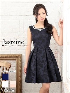 [jasmine]パールビジュー付き薔薇柄Aラインミニドレス[特別クーポンで半額]