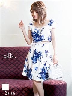 [SMLサイズ]ウエストレース透け花柄Aラインミニドレス[3サイズ展開]