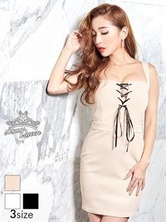 [SMLサイズ]胸元リボンノースリタイトミニドレス[3サイズ展開]