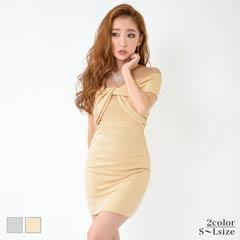[SMLサイズ]胸元リボンデザインオフショルタイトミニドレス[3サイズ展開]