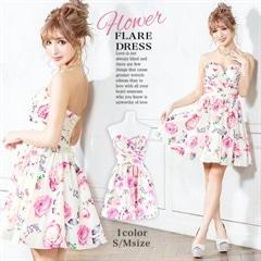 2/18UP[S/Mサイズ]Rose&Peony bouquet minidress -ローズ&ピオニーブーケミニドレス-[2サイズ展開][送料無料]