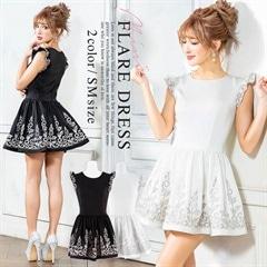 2/18UP[S/Mサイズ]Chandelier flare minidress -シャンドリエフレアミニドレス-[2サイズ展開][送料無料]