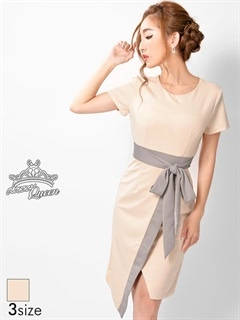 [SMLサイズ]バイカラー切り替え巻きスカート風袖付きタイトドレス[3サイズ展開]
