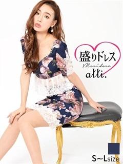 【盛りドレス】[2ピース]レース透けペプラム薔薇柄タイトミニドレス[3サイズ展開]