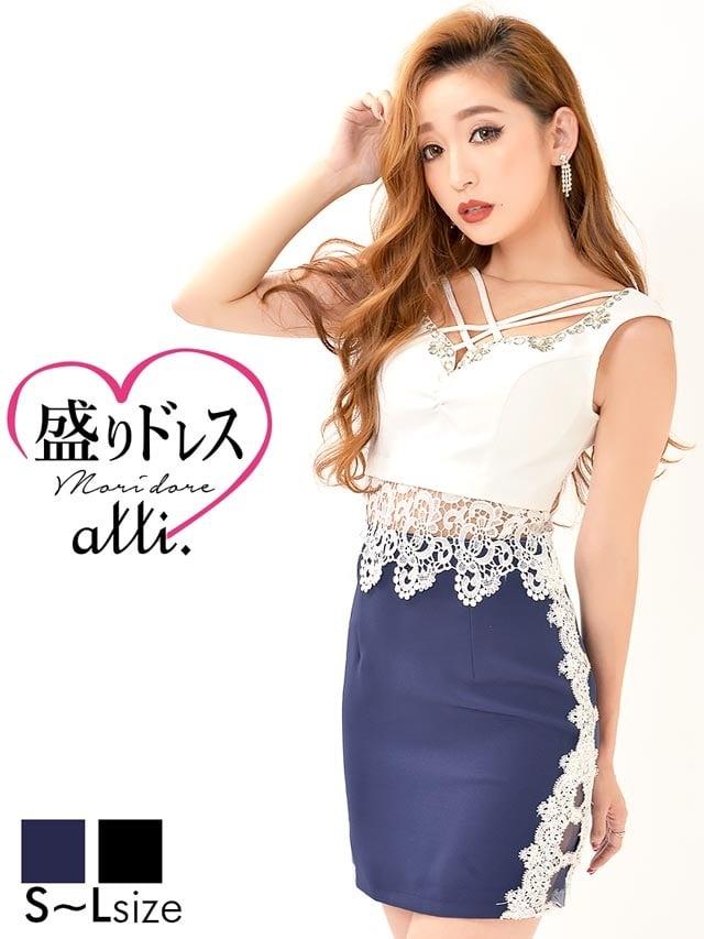 【盛りドレス】[SMLサイズ]デコルテクロスウエスト透けタイトミニドレス[3サイズ展開]