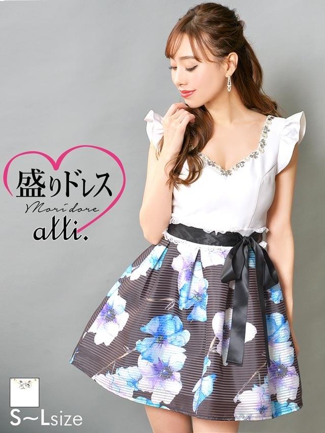 【盛りドレス】[SMLサイズ]ウエストリボン花柄Aラインミニドレス[3サイズ展開]